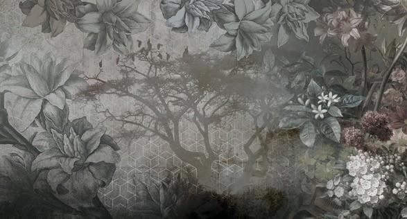 papel decorativo flores modernas